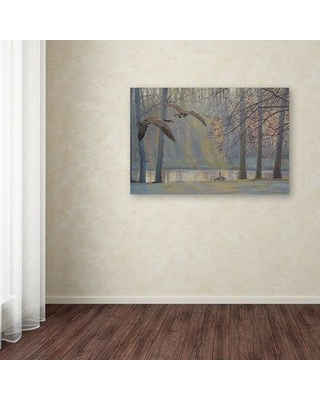 """Trademark Art 'Geese an Pond' Print on Wrapped Canvas ALI12583-C Size: 16"""" H x 24"""" W x 2"""" D"""