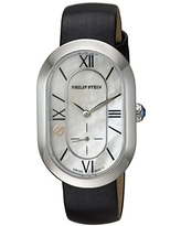 Philip Stein Chronograph Analog Display Wrist Swiss Quartz Watch Leather Band Pin Buckle Mother-of-Pearl Dial with Modern Mini Frame Natural Frequency Technology Provides Energy-Model 74-CMOP-IB