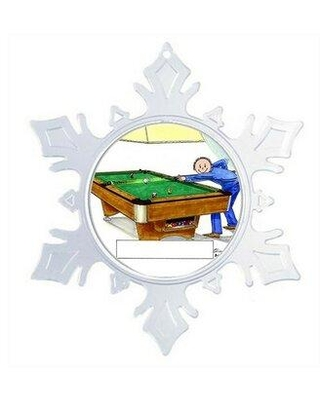 The Holiday Aisle® Personalized Friendly Folks Cartoon Snowflake Billiards Pool Player Christmas Holiday Shaped Ornament X112847540