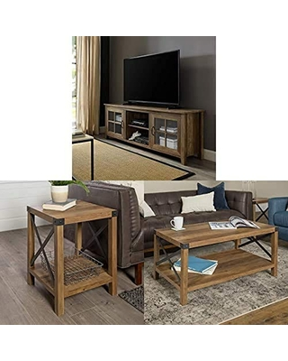 Walker Edison Furniture Company Modern Farmhouse Grooved Wood Stand with Cabinet Doors for TV's with Side Accent Living Room Small End Table and Coffee Table Living Room Ottoman Storage Shelf