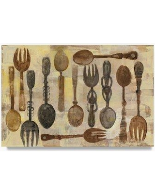 """Fleur De Lis Living 'Spoons and Forks' Print on Wrapped Canvas FDLV3914 Size: 12"""" H x 19"""" W"""