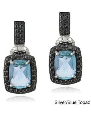 Glitzy Rocks Silver Gemstone and Black Diamond Accent Dangle Earrings (Topaz - Blue - November)