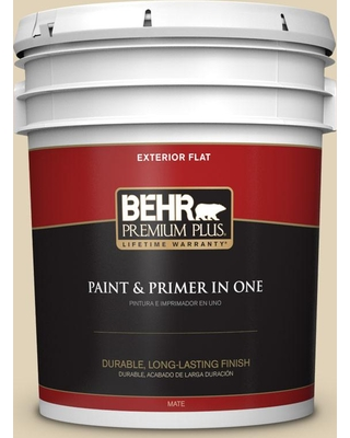 BEHR Premium Plus 5 gal. #MQ3-16 Limescent Flat Exterior Paint and Primer in One