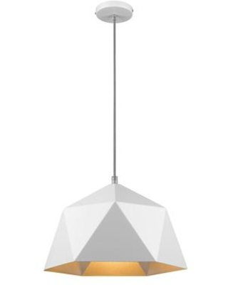 YS7702-1PM-WH 1-Light Single Pendant Lighting with Iron Materials and 60 Watts in White and Silver