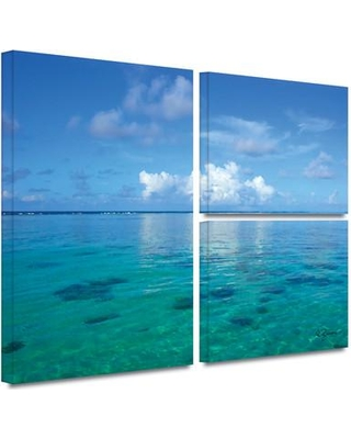 "ArtWall 'Lagoon and Reef' by George Zucconi 3 Piece Photographic Print on Wrapped Canvas Set 0zuc006g2436w / 0zuc006g3648w Size: 24"" H x 36"" W x 2"" D"