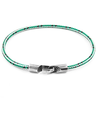 ANCHOR & CREW - Green Dash Talbot Silver & Rope Bracelet (CHARITY BRACELET One Tree Planted)
