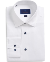 Men's Big & Tall David Donahue Trim Fit Solid Dress Shirt, Size 17 36/37 - White
