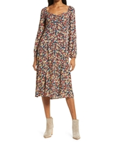 Lost + Wander Paradise Valley Long Sleeve Midi Dress, Size X-Large in Black Floral at Nordstrom
