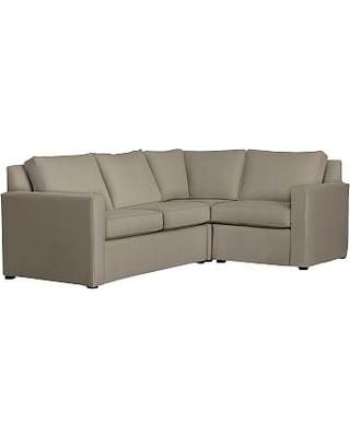 Cameron Square Arm Slipcovered Left Arm 3-Piece Corner Sectional, Polyester Wrapped Cushions, Performance Everydayvelvet(TM) Carbon