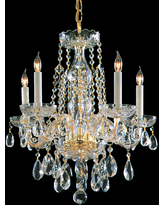 Crystorama Traditional Crystal 5-Light 20 inch Mini Chandelier in Polished Brass with Clear Hand Cut Crystals