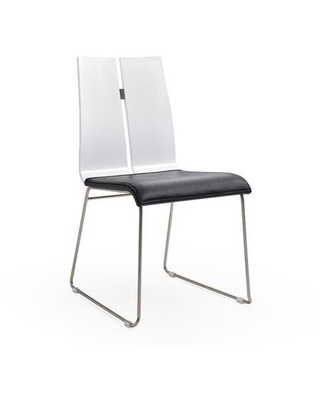 Lauren Collection DC1191-WHT-BLK Dining Chair with High Gloss Wood Material Tall Backrest Brushed Nickel Metal Frame and Faux Leather Uphosltery in