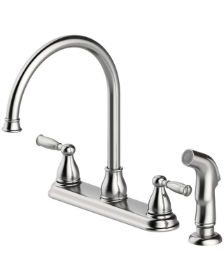 Project Source Brice Stainless Steel 2-Handle Deck-Mount High-Arc Handle Kitchen Faucet (Deck Plate Included) | 67129W-100802