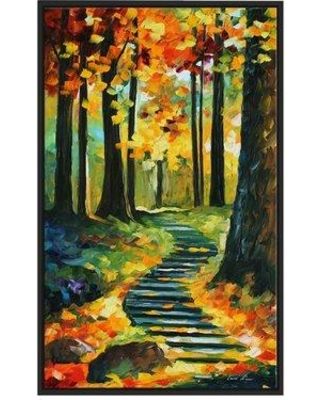 """Winston Porter 'Stairway In the Old Park' Framed Oil Painting Print on Wrapped Canvas BI022947 Size: 63.5"""" H x 39.5"""" W x 2"""" D"""