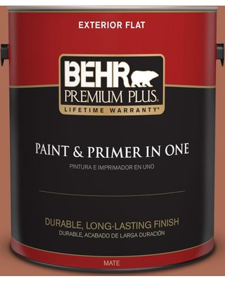 BEHR Premium Plus 1 gal. #BIC-45 Airbrushed Copper Flat Exterior Paint and Primer in One