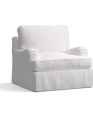 "PB English Arm Slipcovered Armchair 38"", Box Edge Down Blend Wrapped Cushions, Twill White"
