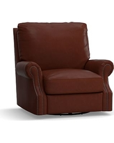 James Leather Swivel Armchair, Down Blend Wrapped Cushions, Leather Signature Whiskey