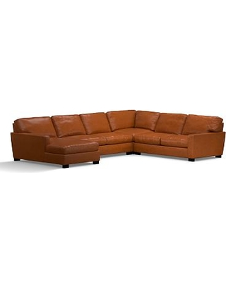 Turner Square Arm Leather Right Arm 4-Piece Chaise Sectional, Down Blend Wrapped Cushions, Legacy Dark Caramel