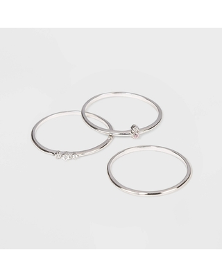Sterling Silver with Cubic Zirconia Stacking Ring Set 3pc - A New Day Silver 7, Women's, Silver Pink Clear