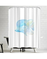 East Urban Home Jetty Printables Blue Watercolor Angel Fish Shower Curtain URBR4908