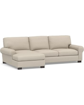 Turner Roll Arm Upholstered Left Arm 2-Piece Sectional with Chaise, Down Blend Wrapped Cushions, Performance Chateau Basketweave Oatmeal