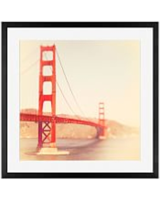 "Golden Gate Framed Print By Tracey Capone, 18x18"", Wood Gallery Frame, Black, Mat"