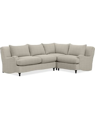 Carlisle Slipcovered Left Arm 3 Piece Corner Sectional, Polyester Wrapped Cushions, Performance Heathered Tweed Pebble