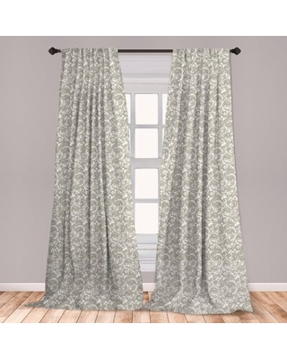 "Damask Room Darkening Rod Pocket Curtain Panels East Urban Home Size per Panel: 28"" x 95"""