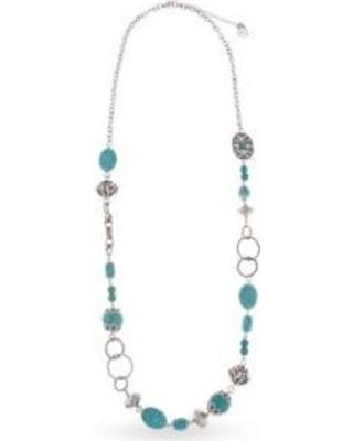 Erica Lyons Blue Silver-Toned Go West Long Beaded Necklace