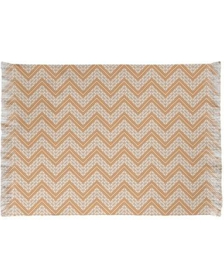 East Urban Home Classic Hand Drawn Chevron Orange Area Rug W001663033 Non-Skid Pad Included: Yes