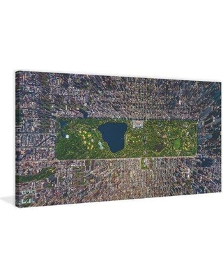 "Marmont Hill 'Usa Ny Aerial' Painting Print on Wrapped Canvas MH-AIRPANO-45-C- Size: 30"" H x 60"" W x 1.5"" D"