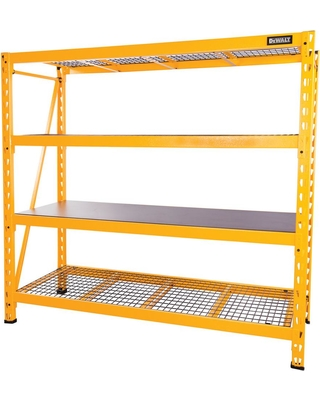 5ef436484be Hot Sale  DEWALT 72 in. H x 77 in. W x 24 in. D 4-Shelf Steel Laminate Expandable  Industrial Storage Rack Unit in Yellow
