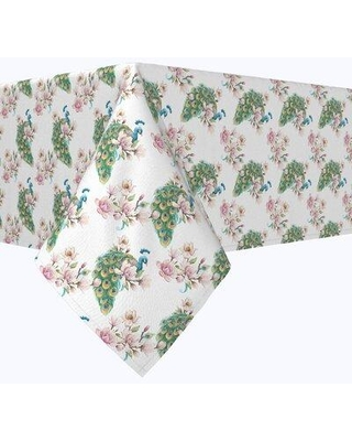"""Bloomsbury Market Vision Watercolor Peacocks and Flowers Tablecloth X113010545 Size: 120"""" x 60"""""""