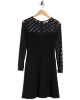 LOVE BY DESIGN Stella Mesh Fit & Flare Dress, Size Small in Black at Nordstrom Rack