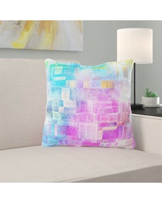Remarkable Deals On Perea Background Throw Pillow Ebern Designs Color Blue Pink Yellow Cover Material Microsuede Location Indoor