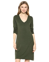 Amazon Brand - Daily Ritual Women's Jersey Long-Sleeve V-Neck T-Shirt Dress, Forest Green,Small