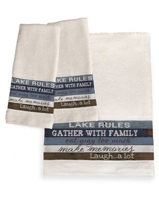 Laural Home® Lake Rules Hand Towel Set of Two