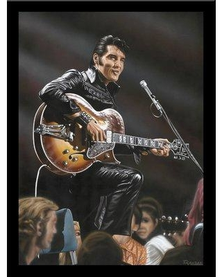 "Buy Art For Less 'Elvis in Leather' Print Poster by Darryl Vlasak Framed Memorabilia IF DV2021 Size: 32"" H x 24"" W x 1"" D"