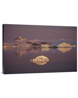 """East Urban Home 'Sunrise Over Icebergs Antarctic Sound Antarctica' Photographic Print EAUB4739 Size: 24"""" H x 36"""" W Format: Wrapped Canvas"""