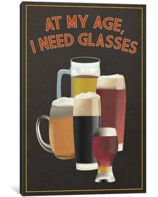 "East Urban Home 'Witty Beer Series: I Need Glasses' Graphic Art Print on Canvas ESUR8489 Size: 40"" H x 26"" W x 0.75"" D"