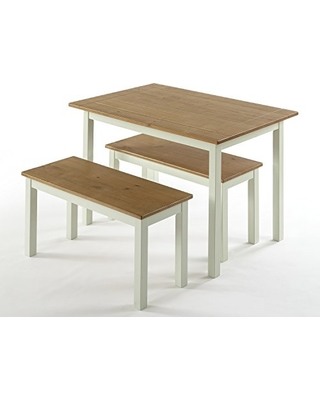Zinus Farmhouse Dining Table With Two Benches 3 Piece Set