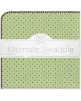 Swaddle Designs Ultimate Receiving Blanket® in Pastel with Brown Polka Dots SD-014PB Color: Lime