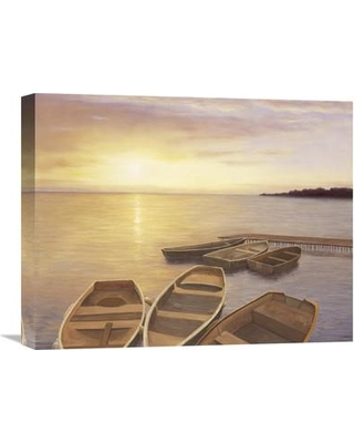 """Global Gallery 'Boats At Dock' by Diane Romanello Painting Print on Wrapped Canvas GCS-130657 Size: 20"""" H x 24"""" W x 1.5"""" D"""