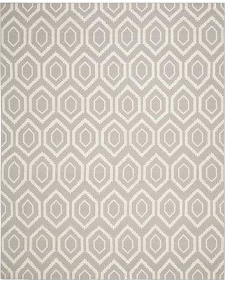 """George Oliver Fung Handwoven Flatweave Gray/Ivory Area Rug W000703660 Rug Size: Runner 2'6"""" x 6'"""