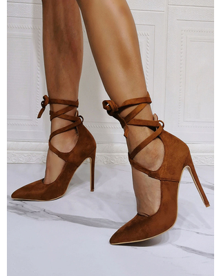 Milanoo High Heel Party Shoes Coffee Brown Pointed Toe Stiletto Heel Lace Up Evening Shoes