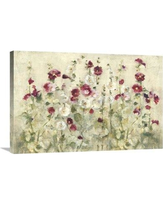 "East Urban Home 'Hollyhocks Row Cool' Print EUHE3551 Size: 24"" H x 36"" W Format: Wrapped Canvas"