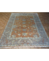 Oushak Oriental Salmon/Blue/Pink/Gold Wool Hand-knotted Area Rug - 8 x 9'11 (8 x 9'11, Salmon)