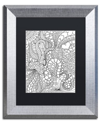 "Trademark Fine Art ""Mixed Coloring Book 62"" Canvas Art by Kathy G. Ahrens, Black Matte, Silver Frame"