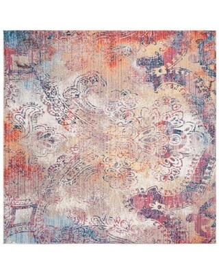 Safavieh Monray Mansoura Modern Abstract Polyester Rug (7' x 7' Square - Red/Multi)