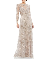 Mac Duggal Embroidered Lace Long Sleeve A-Line Gown, Size 6 in Mocha at Nordstrom