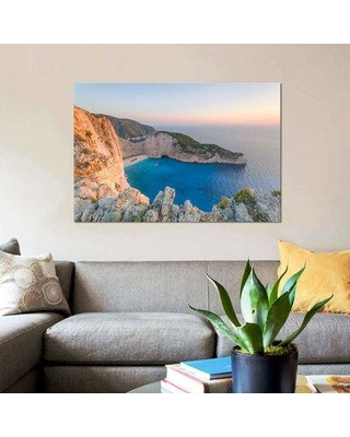 """East Urban Home 'Navagio Shipwreck Beach Zante Greece' By Matteo Colombo Graphic Art Print on Wrapped Canvas ETRC6729 Size: 8"""" H x 12"""" W x 0.75"""" D"""